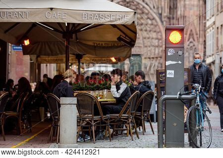 Strasbourg, France - May 19, 2021: No Places At The Terraces As Bars And Restaurants Reopen After Mo