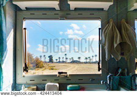 View From Caravan Bathroom Inside On Nature Landscape In Sierra Alhamilla Mountain Range, Spain. Adv