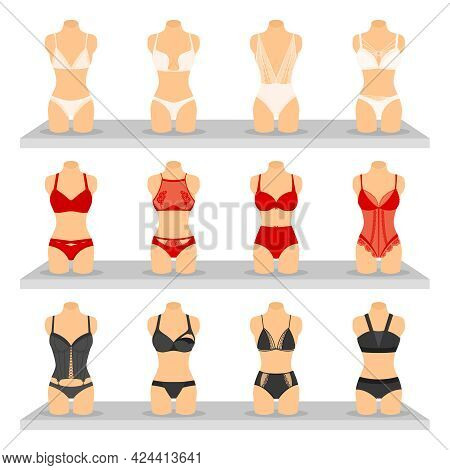 Images Set Of Different Colors And Shapes Fashion Lingerie On Special Dummies Flat Isolated Vector I