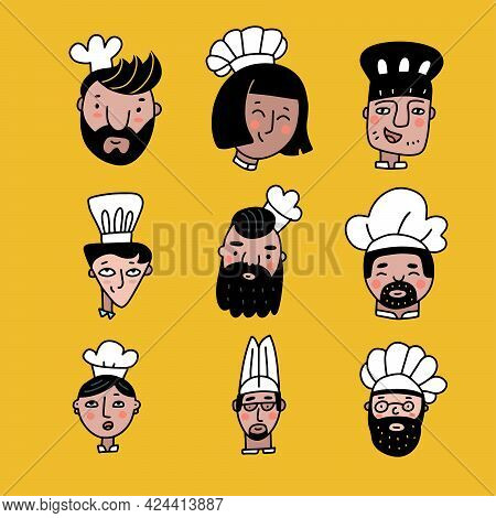 Set Of Chef Cooks Cartoon Faces In Color Doodle Style. Collection Of Nine Different Cooks Heads With
