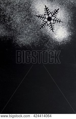Black Background Sprinkled With Flour, Smeared Flour, Table For Cooking, Rolling Dough. Blank Space