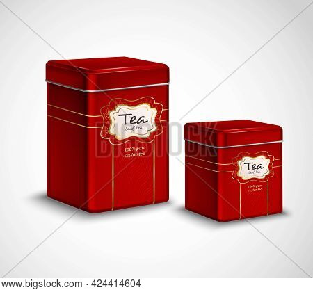 High Quality Tea Metal Packaging And Storage Containers Realistic Advertisement  Poster With 2 Red T