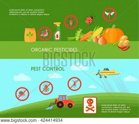 Pest Control Horizontal Banners Set With Organic Pesticides Symbols Flat Isolated Vector Illustratio