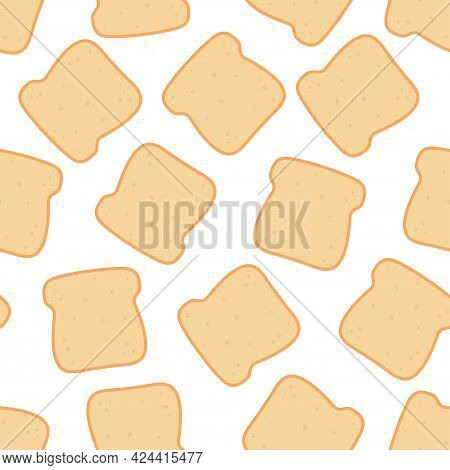 Slices Toast Bread Seamless Pattern On White Background, Bakery Pastry Product, Healthy Food, Vector