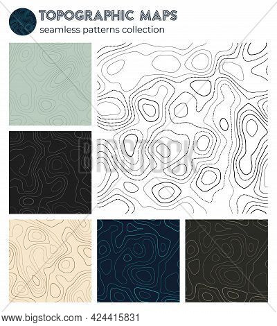 Topographic Maps. Attractive Isoline Patterns, Seamless Design. Authentic Tileable Background. Vecto