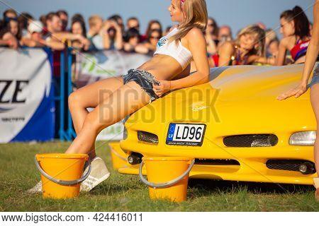 Semi-naked Girls Erotically Wash A Sports Car