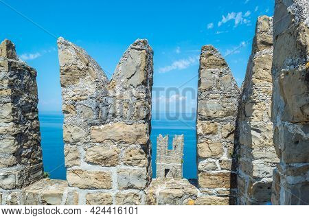 Tower Of The City Walls In Piran At The Adriatic Sea In Slovenia.