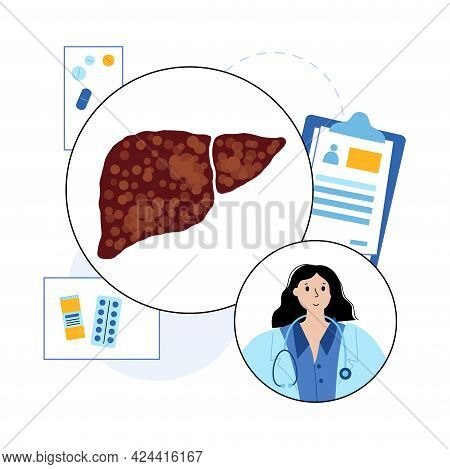 Cirrhosis Logo, Scar Tissue In Liver. Damaged And Scarred Liver. Pain Inflammation And Damaged Cells