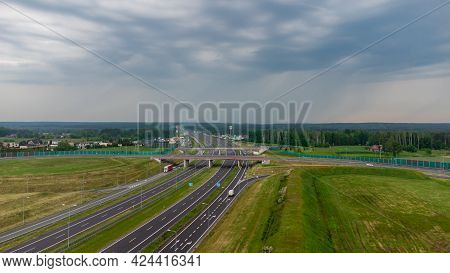 Zory, Poland - June 5, 2021: Aerial View On Highway A1 Officially Named Amber Highway (pol. Autostra