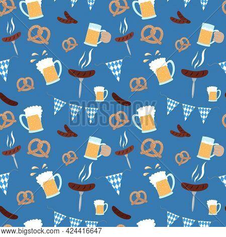 Oktoberfest Pattern. Beer Festival Food And Flag. Seamless Oktoberfest Background. Vector Illustrati