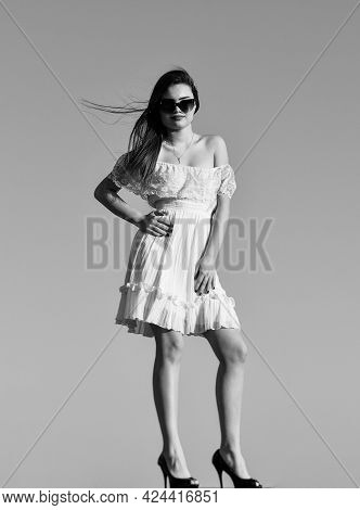 Towards Summer. Wind Of Change. Fancy Model In Tender Summer Dress. Freedom And Harmony. Female Psyc
