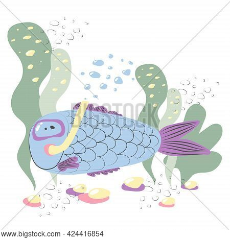 Cartoon Funny Blue Fish In An Underwater Mask Swims On The Seabed Among The Seaweed. Funny Tropical