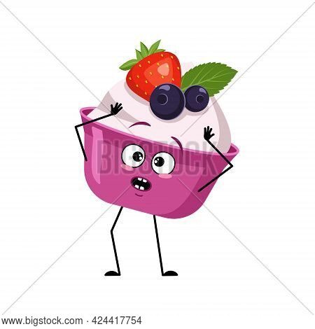 Cute Cake Or Yogurt Character With Emotions In A Panic Grabs His Head, Face, Arms And Legs. The Funn