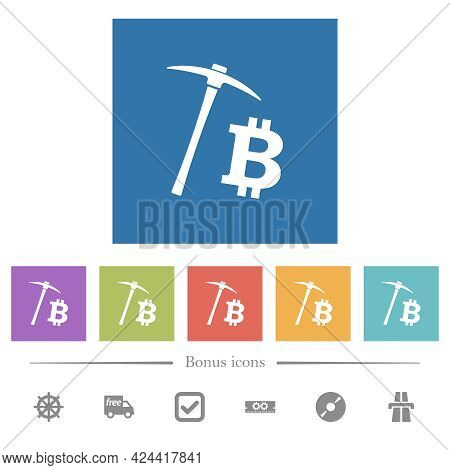 Bitcoin Cryptocurrency Mining Flat White Icons In Square Backgrounds. 6 Bonus Icons Included.