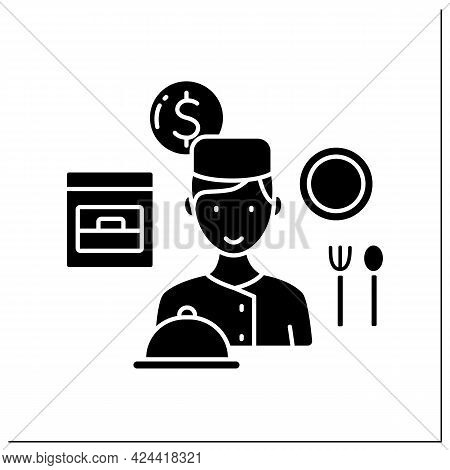 Personal Chef Glyph Icon. Man Cooks For Special Clients. Only Exclusive Dishes. Small Business Owner