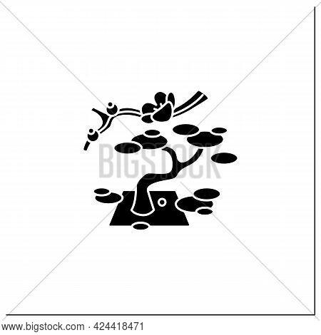 Garden Glyph Icon. Traditional Gardens Accompanied By Japanese Aesthetics. Bonsai Tree. Natural Land