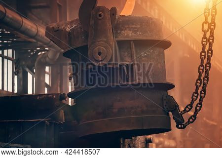 Large Iron Ladle With Molten Metal In Foundry.