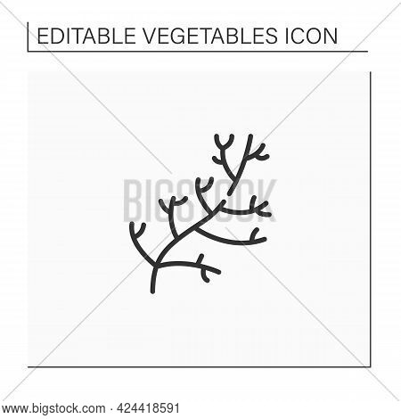 Dill Line Icon. Special Species For Dishes. Improve Food Taste. Dietary Food. Vegetarian, Healthy Nu