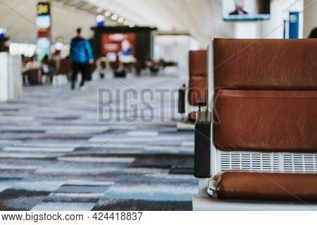 Leather seats in waiting area at the airport