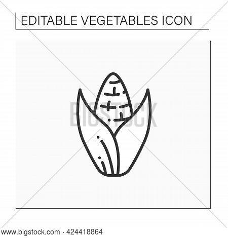 Sweet Corn Line Icon. Edible Vegetable.dietary Food. Vegetarian, Healthy Nutrition. Health Benefits.