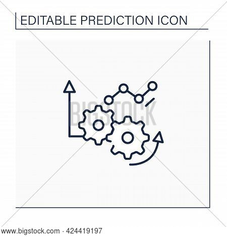 Improving Operations Line Icon. Improving Operations Quality. Automation Production.predictive Analy