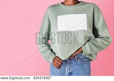 Black woman in a green sweater mockup