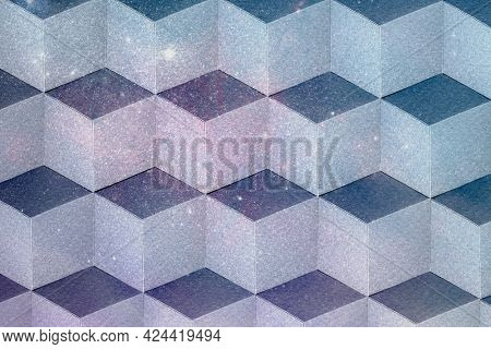 3D dull pastel paper craft cubic patterned background