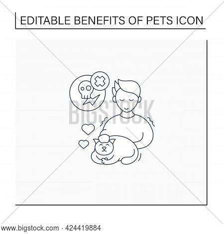 Pets Benefits Line Icon.cat Provide Sensory Stress Relief. Reduce Anxiety, Depression. Animal Caring