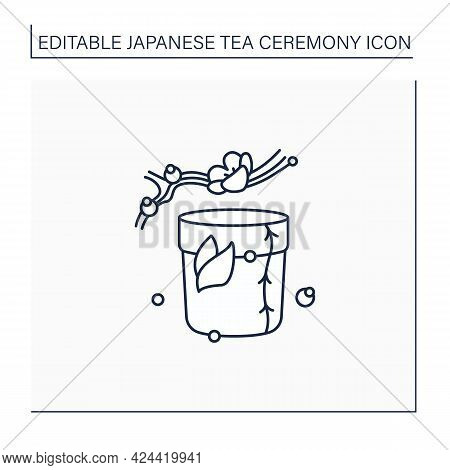 Tea Caddy Line Icon. Special Box For Traditional Herbal Tea.japanese Ethnic And National Ceremony. S