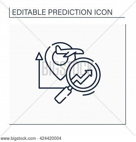 Travel Analytics Predictive Analytics Line Icon.help Travel, Transport, Logistics Companies. Chart C