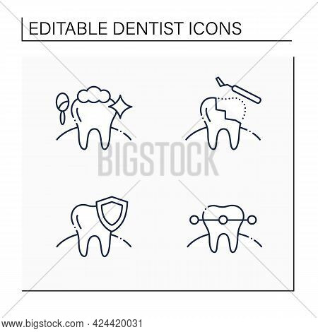 Dentist Line Icons Set. Cosmetic Dentistry Procedures, Restorative Dentistry, Tooth Braces. Healthca
