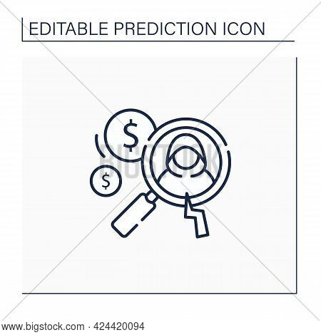 Detecting Fraud Line Icon. Fraudulent Schemes. Deception. Criminal Acts. Careful Research. Predictiv