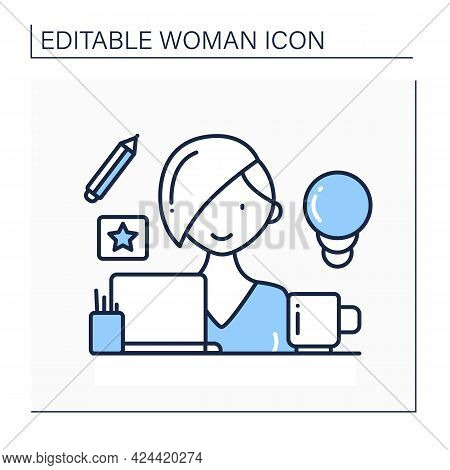 Woman Designer Line Icon. Female Graphic Designer Working On Computer At Home. Remote Work. Having I