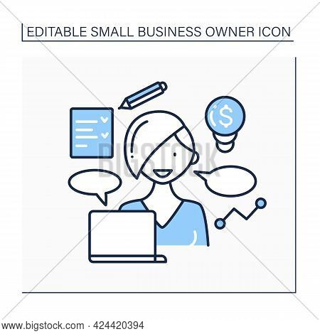 Coaching Line Icon. Online Training Courses. Coach Helps With Self-motivation. Startup Project. Smal