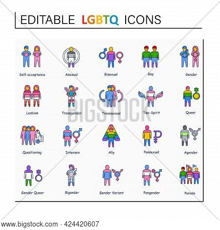 Lgbtq Collections Line Icons. Consists Of Bisexual, Intersex, And Ally. Pansexual, Agender And Bigen
