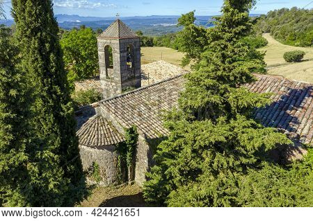 The Church Of Sant Pau De Pinos Is Of Romanesque Origin, Detail Of The Apse And Tower. Catalonia Spa