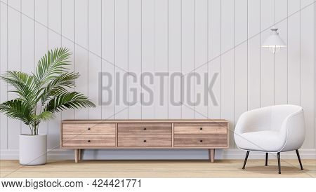 Minimal Style White Plank Empty Wall Decorate With Wooden Cabinet 3d Render,there Are Wooded Floor,d