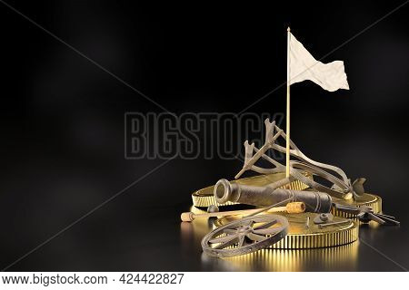 The Wrecked Cannons Were Destroyed And Piled On The Ground With Gold Coins Lying Beside Them And Whi