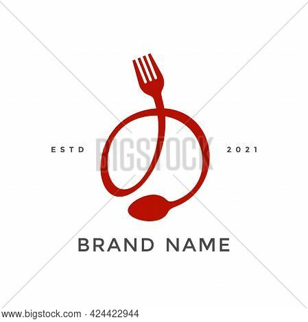 Simple, Modern And Unique Illustration Logo Design Initial O Combine With Fork And Spoon. Logo Recom