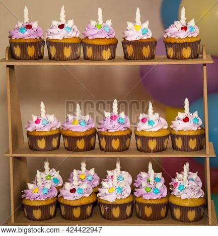 Medium Density Fibreboard Mdf 3 Tier Cupcake Stand Tower Holder With Unicorn Toppers Display For Pas
