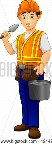 Cute Boy Bricklayer Builder Construction Worker On A White Background
