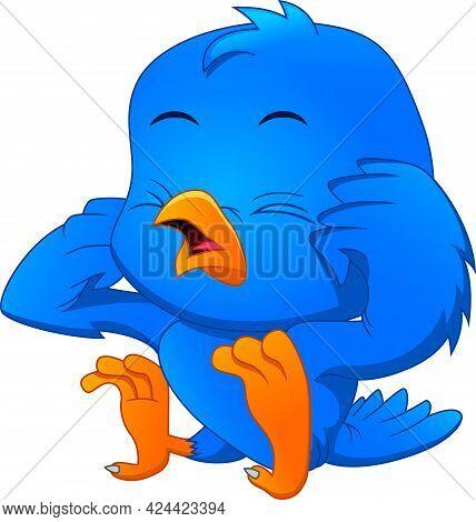 Cartoon Cute Bird Crying On White Background