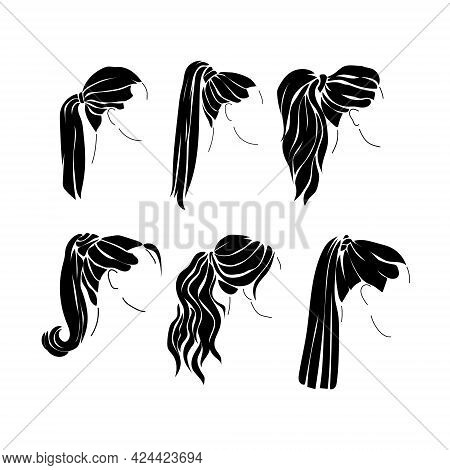 Hairstyle Ponytail Silhouettes Set, Options For Trendy Female Hairstyles Vector Illustration