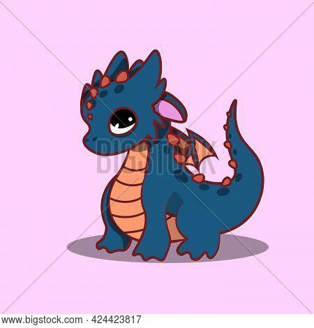 Blue Dragon Cartoon Style. Flat Vector Illustration. Animal Illustration Of Baby Dragon.
