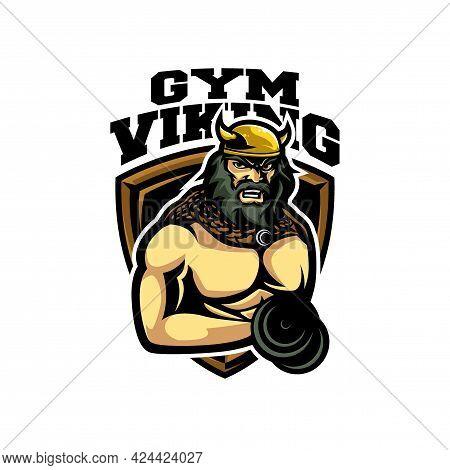 Viking Gym Illustration. Viking Fitness Logo Design Vector Template