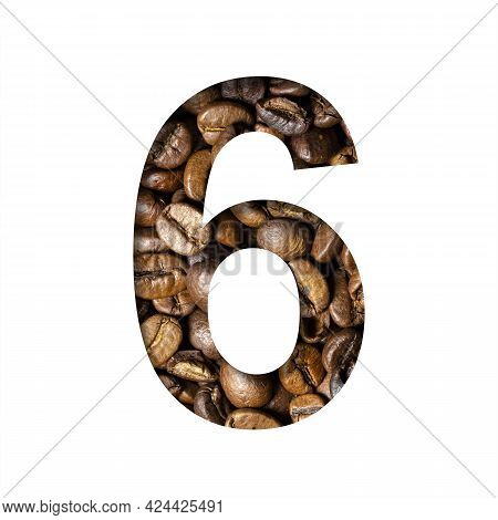 Coffee Beans Font. The Digit Six, 6 Is Cut Out Of Paper On The Background Of Roasted Beans Of Excell