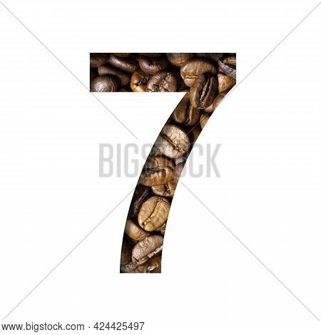 Coffee Beans Font. The Digit Seven, 7 Is Cut Out Of Paper On The Background Of Roasted Beans Of Exce