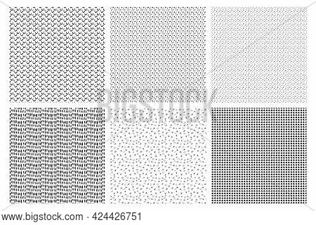 Set Of Monochrome Black And White Pattern Texture Background. Striking Pattern To Add Texture To The