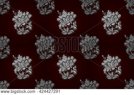Seamless Pattern With Interesting Doodles On Colorfil Background. Pano.