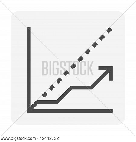 Benchmark And Increasing Graph Or Chart Vector Icon Design With Up Arrow. That Statistical Data Of T